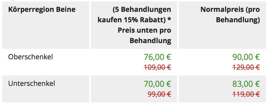 Preistabelle für die Beine